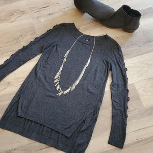 LC Lauren Conrad Lace-Up Sleeve Tunic Sweater